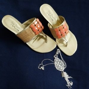 The Touch of Nina Coral Gold Jeweled Sandals